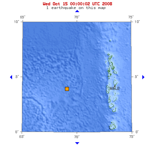 2008年10月15日子夜0点51分印度洋北部发生5.0级地震