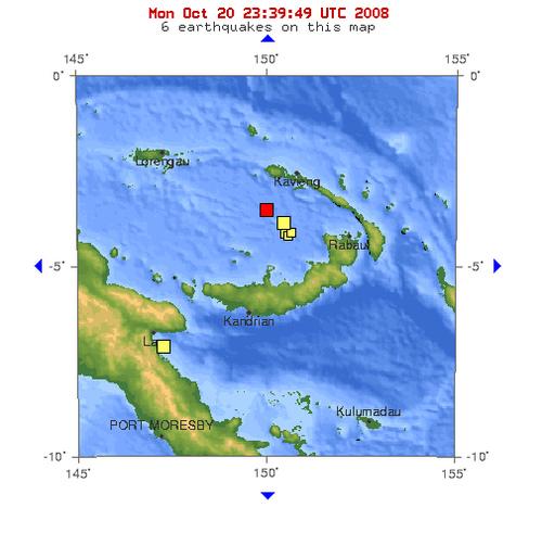 2008年10月21日上午9点15分俾斯麦海发生5.0级地震