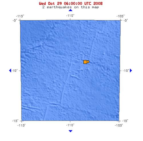 2008年10月28日下午18点35分东太平洋海岭中部发生5.1级地震