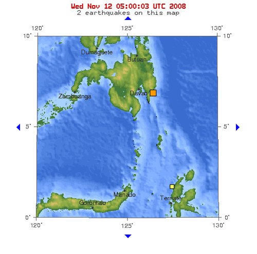 2008年11月12日上午10点04分菲律宾棉兰老岛发生5.2级地震