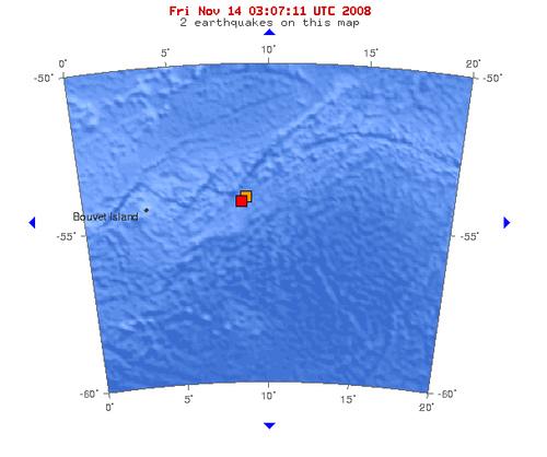 2008年11月14日凌晨3点43分布韦群岛海域发生5.2级地震