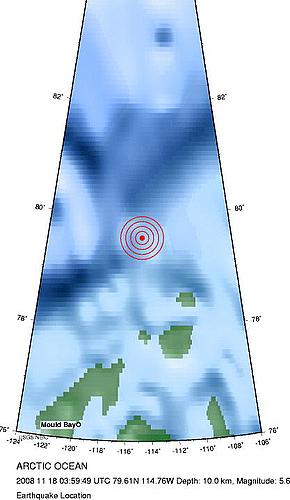 2008年11月17日晚上19点59分北冰洋发生5.6级地震