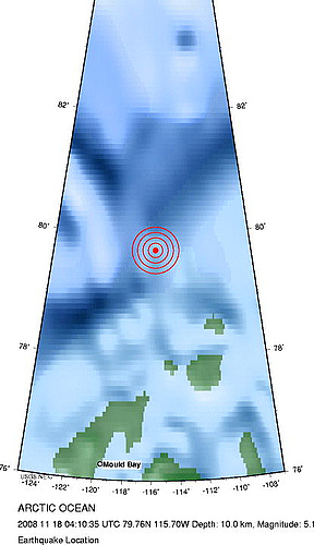 2008年11月17日晚上20点10分北冰洋发生5.1级地震