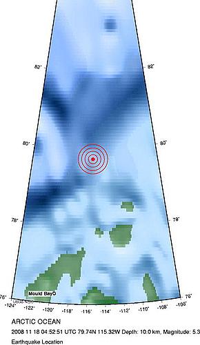 2008年11月17日晚上20点52分北冰洋发生5.3级地震