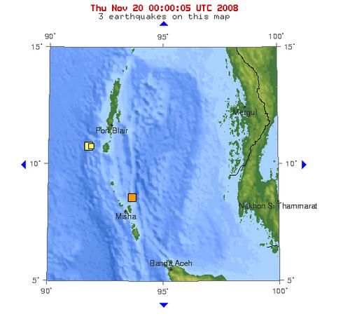 2008年11月19日晚上22点44分印度尼科巴群岛附近海域发生5.4级地震