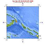 2008年11月23日晚上21点57分巴布亚新几内亚新不列颠岛地区发生5.2级地震